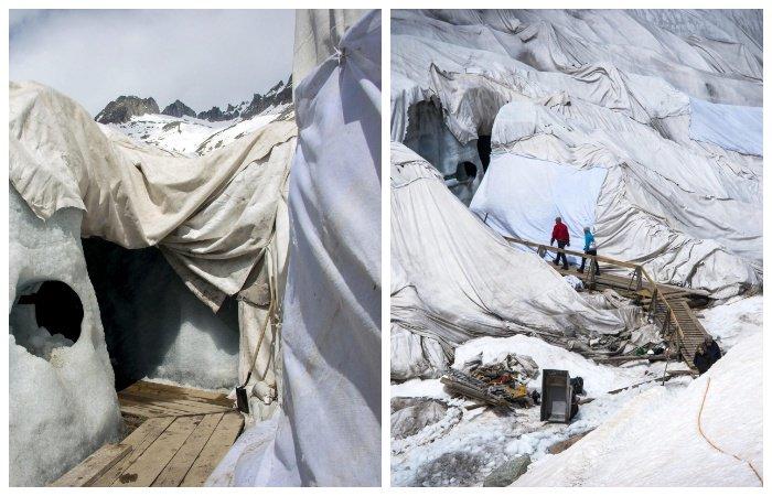 Катаклизмы природы_ Тающий ледник в швейцарских Альпах стал причиной закрытия старинного отеля (9)