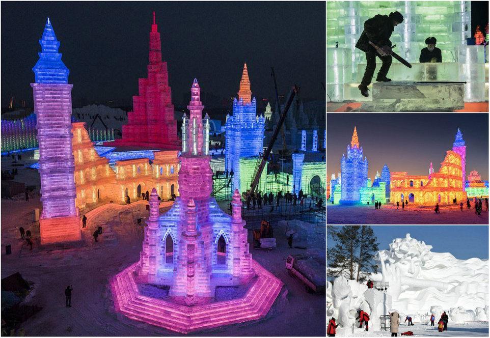 Подготовка самого большого фестиваля льда 2019: фоторепортаж из Харбина