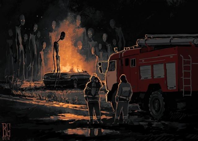 Иллюстрации повседневных городов_ наполненные атмосферой страха (11 рисунков) (4)