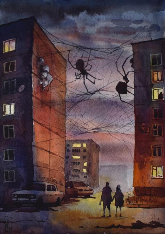 Иллюстрации повседневных городов_ наполненные атмосферой страха (11 рисунков) (6)