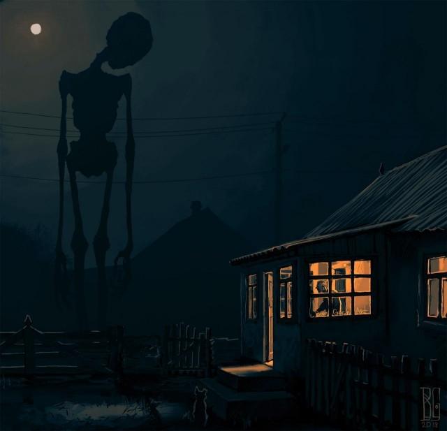 Иллюстрации повседневных городов_ наполненные атмосферой страха (11 рисунков) (8)