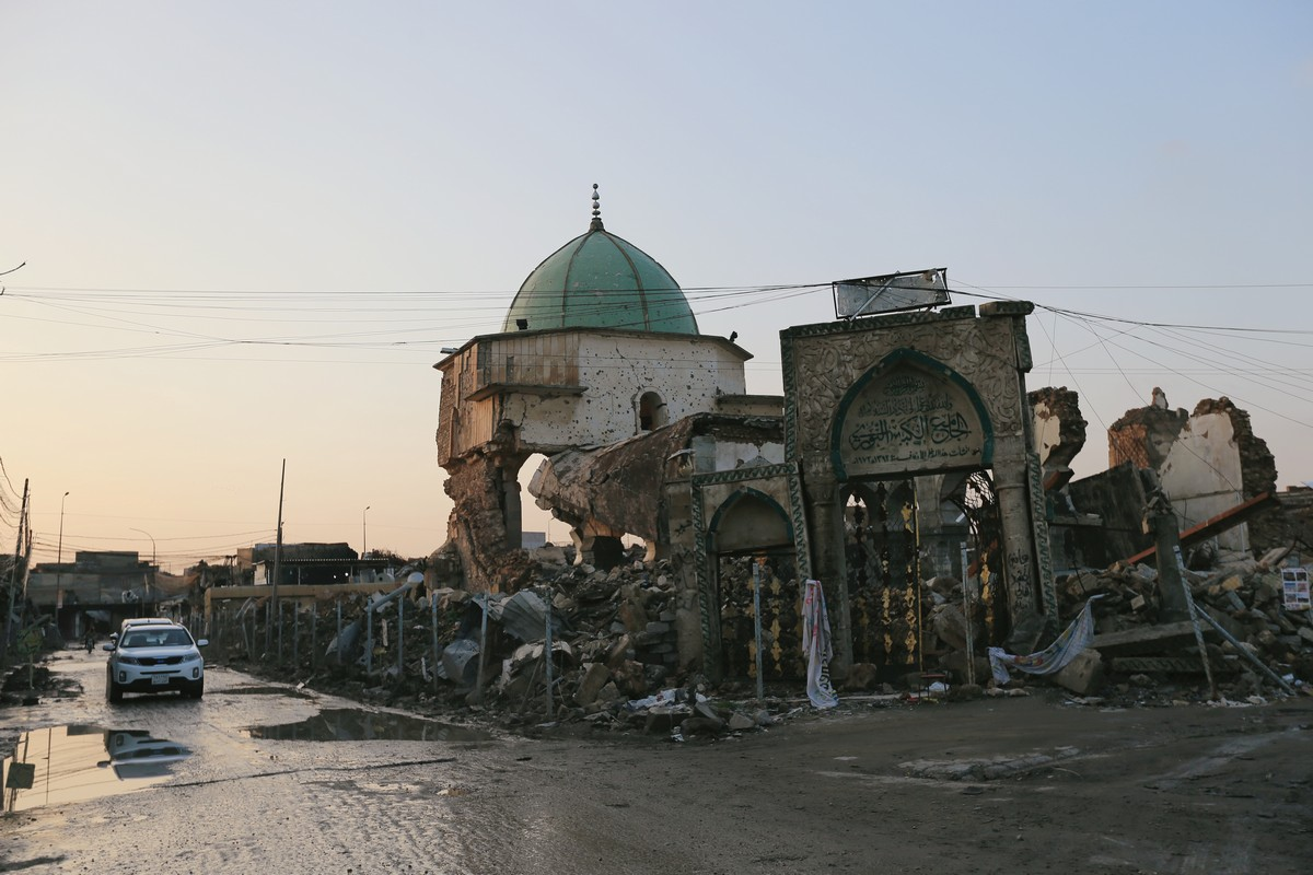 The destroyed Grand Mosque of al-Nuri is seen in the Old City of Mosul