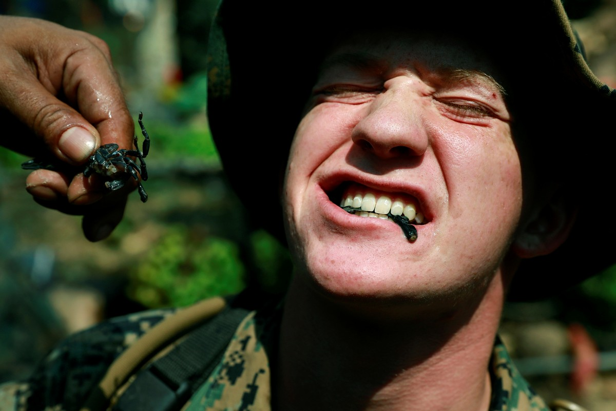 A soldier is fed a scorpion during the Cobra Gold multilateral military exercise in Chanthaburi