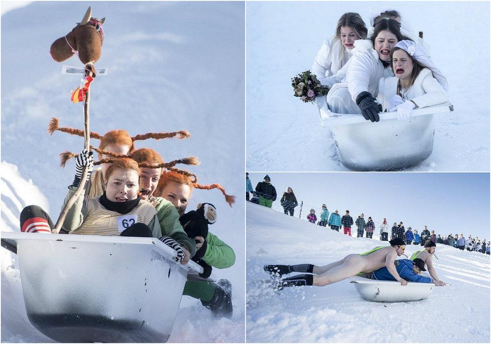 Костюмированный скоростной спуск в ванной на швейцарском горнолыжном курорте