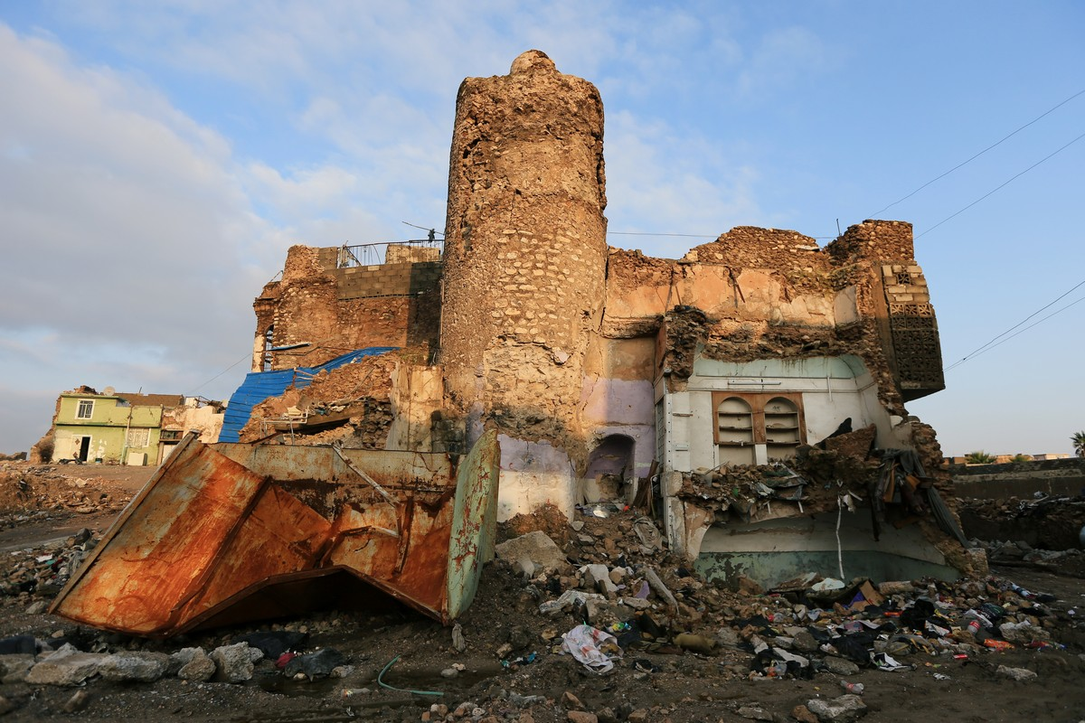 A destroyed Mosque is seen in the Old City of Mosul