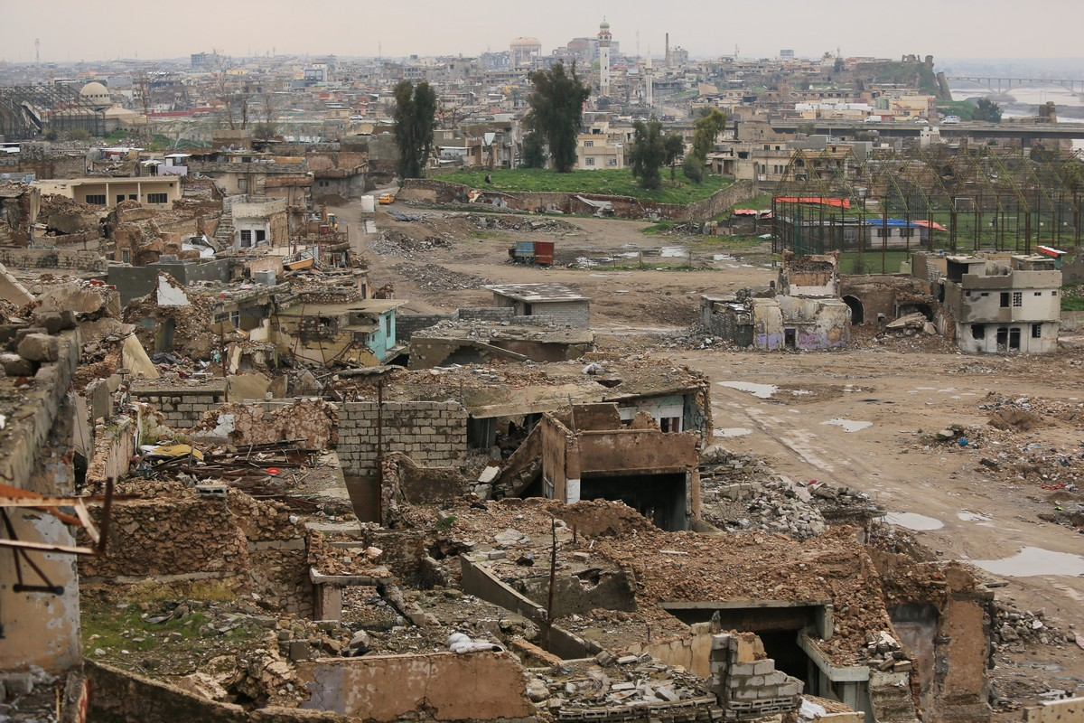 Destroyed buildings are seen in the Old City of Mosul