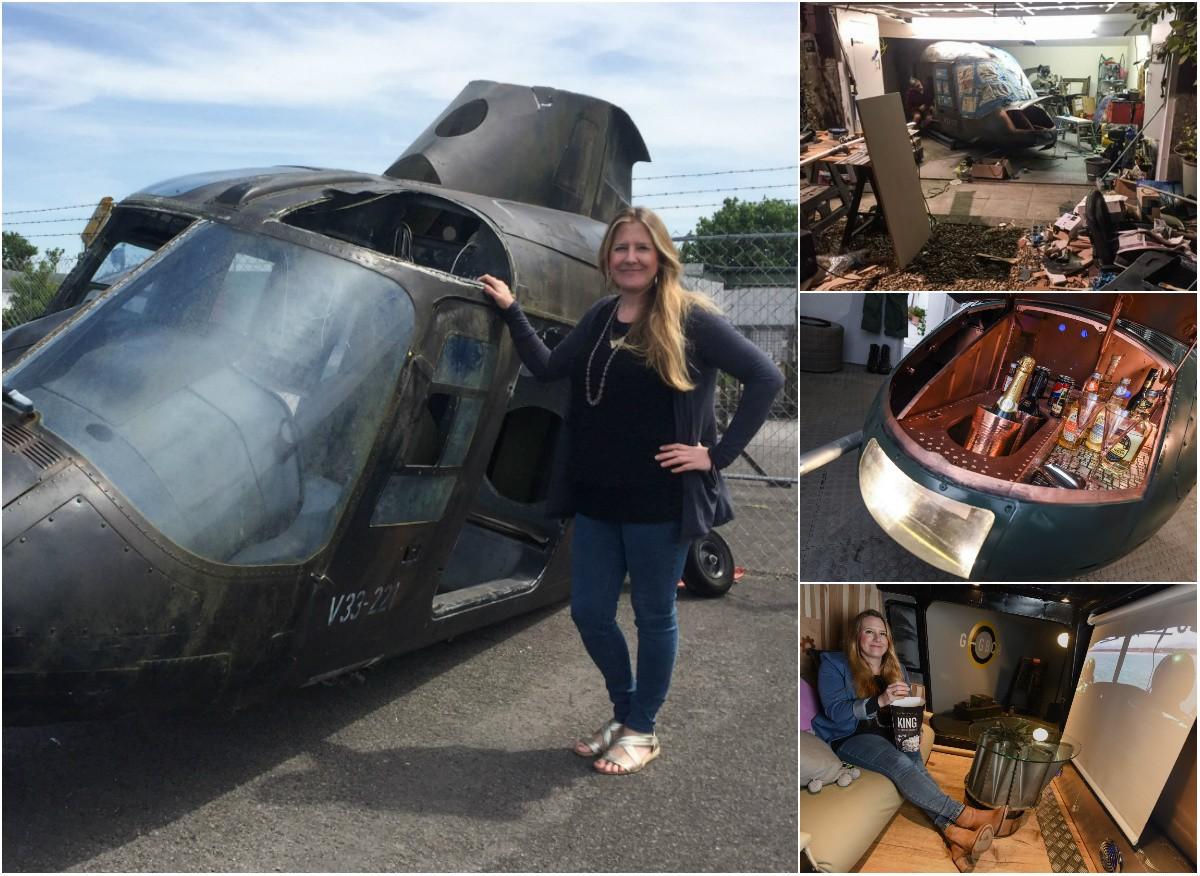 Англичанка потратила миллион, чтобы купить вертолет и сделать из него кинотеатр