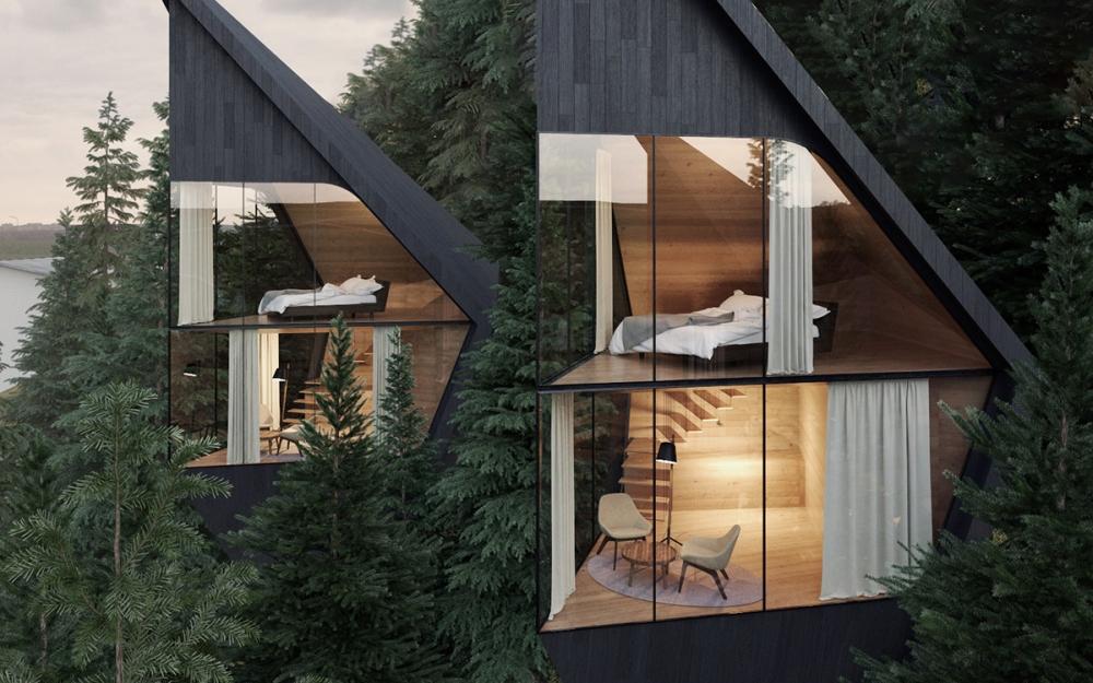 Футуристические домики на деревьях в Доломитовых Альпах Италии (2)