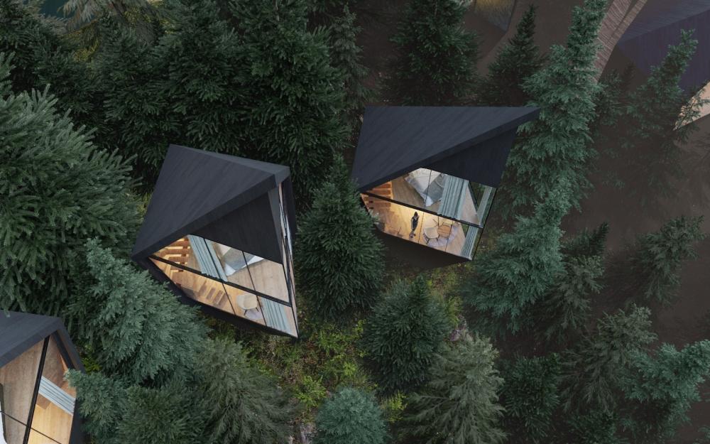 Футуристические домики на деревьях в Доломитовых Альпах Италии (3)