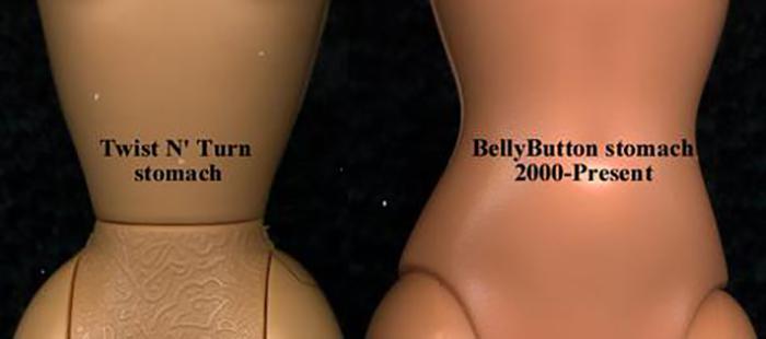 Разница между талией Барби до и после редизайна.