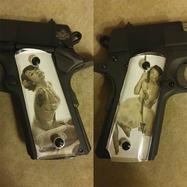 Во время Второй мировой солдаты мастерили рукоятки пистолетов с фото родных (13 фото) (6)