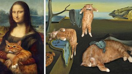 Художница из России добавляет своего толстого рыжего кота в известные картины