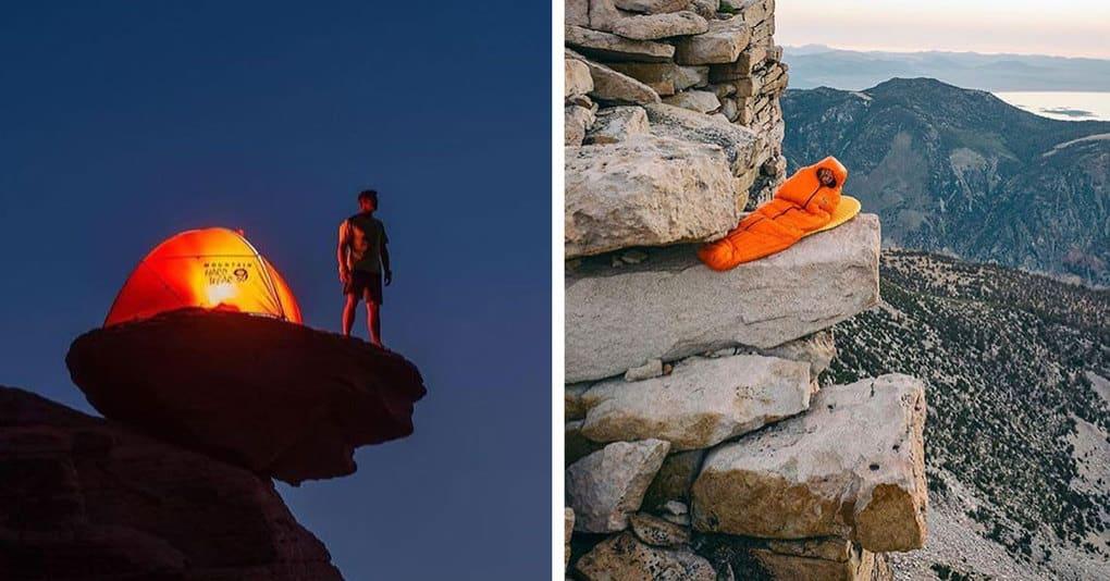Эта девушка изящно высмеивает тревел-блогеров, ставящих палатки в неудобнейших местах, только для того, чтобы сфоткаться