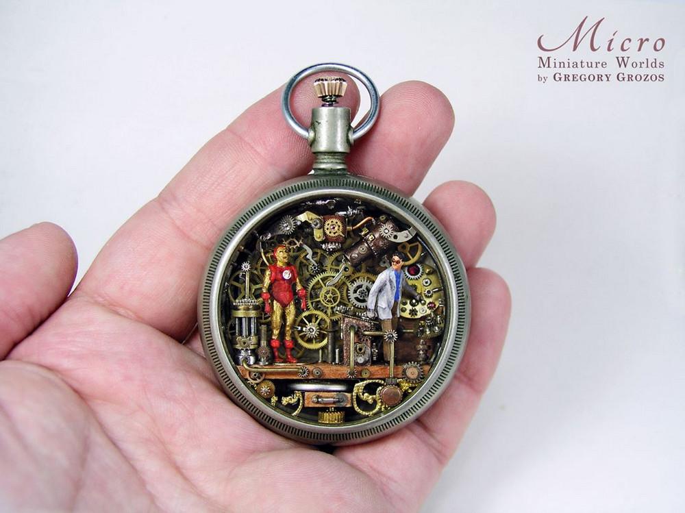 Миниатюрные миры в старых карманных часах Грегори Грозоса 8