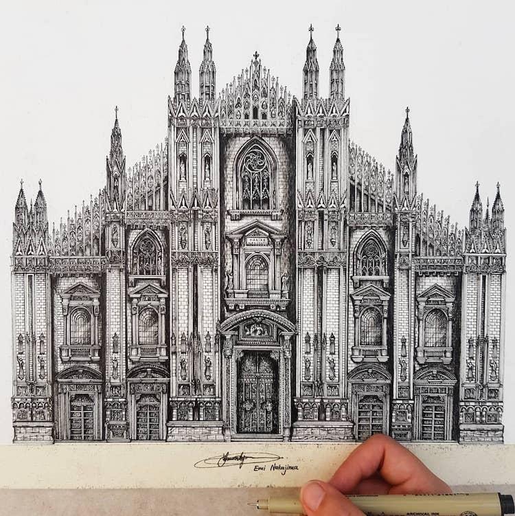 7_yaponka_risuet_voshititelnuyu_arhitekturu