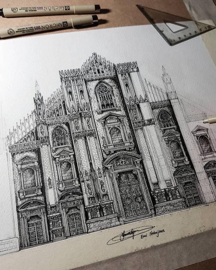 8_yaponka_risuet_voshititelnuyu_arhitekturu
