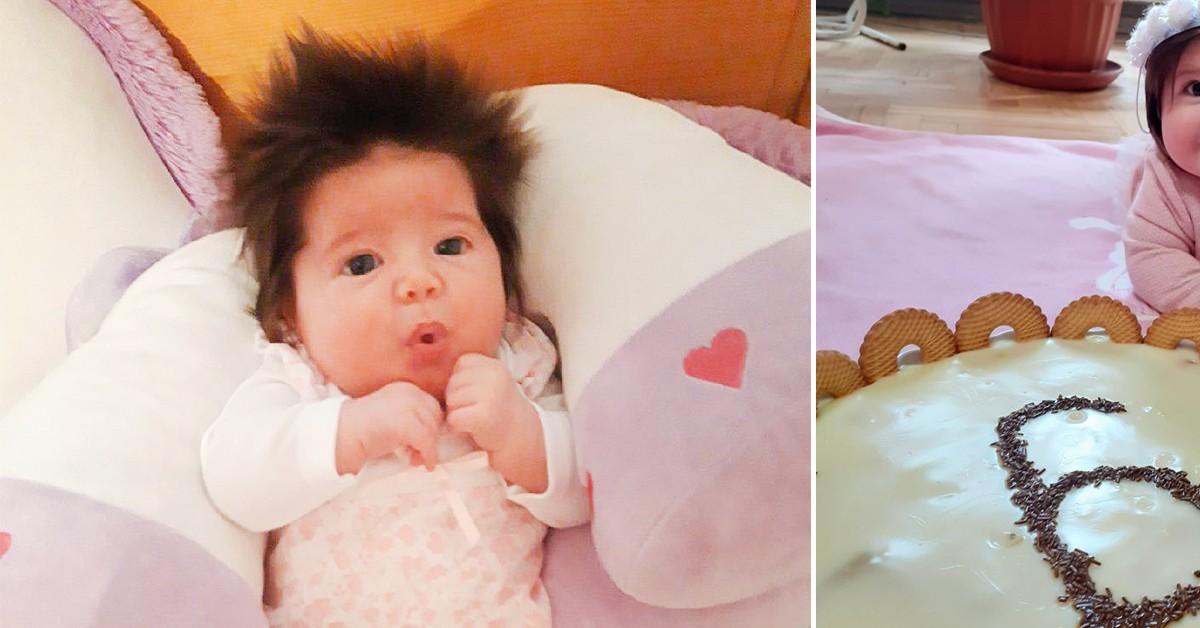 В Болгарии родилась девочка с роскошной шевелюрой