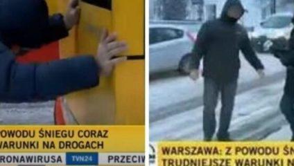 Стал героем ТВ: в Польше только белорус додумался вытолкать буксующий автобус
